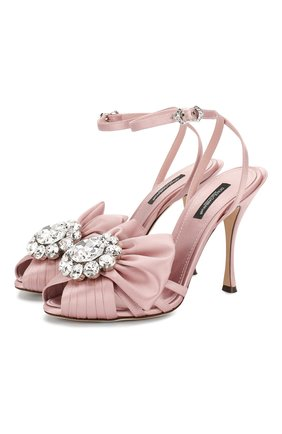 Женские текстильные босоножки bette DOLCE & GABBANA светло-розового цвета, арт. CR0831/A7630 | Фото 1