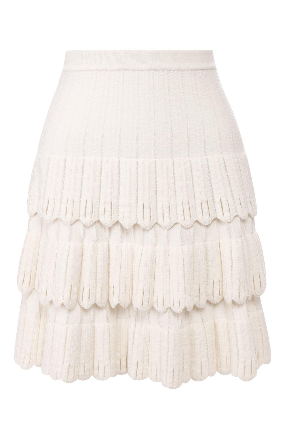 Женская юбка из смеси шерсти и вискозы ALAIA белого цвета, арт. 9W9JE30CM486 | Фото 1