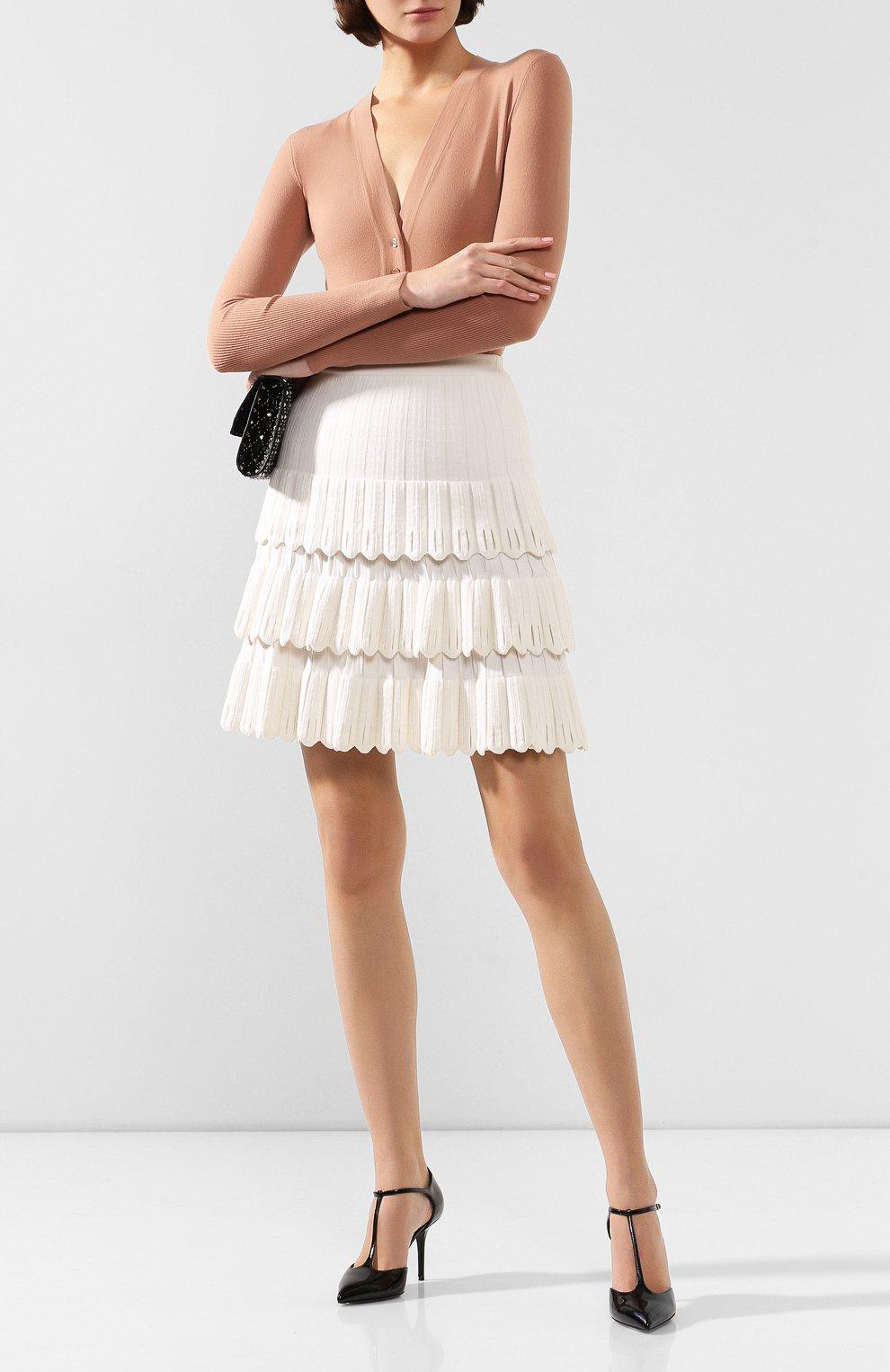 Женская юбка из смеси шерсти и вискозы ALAIA белого цвета, арт. 9W9JE30CM486 | Фото 2