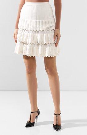 Женская юбка из смеси шерсти и вискозы ALAIA белого цвета, арт. 9W9JE30CM486 | Фото 3