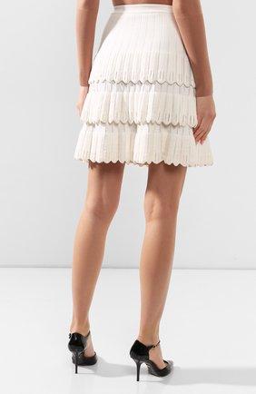 Женская юбка из смеси шерсти и вискозы ALAIA белого цвета, арт. 9W9JE30CM486 | Фото 4