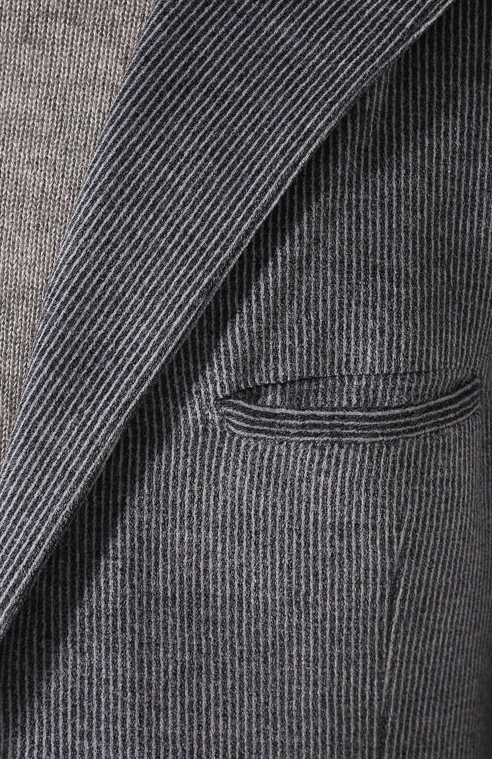 Мужской хлопковый костюм KNT темно-серого цвета, арт. UAS0104K01S75   Фото 6 (Рукава: Длинные; Костюмы М: Однобортный; Материал внешний: Синтетический материал, Хлопок; Материал подклада: Купро; Стили: Кэжуэл)