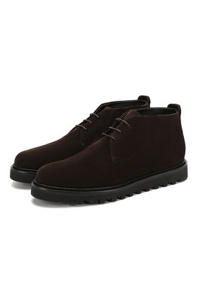 Мужские замшевые ботинки GIORGIO ARMANI темно-коричневого цвета, арт. X2M314/XF178 | Фото 1