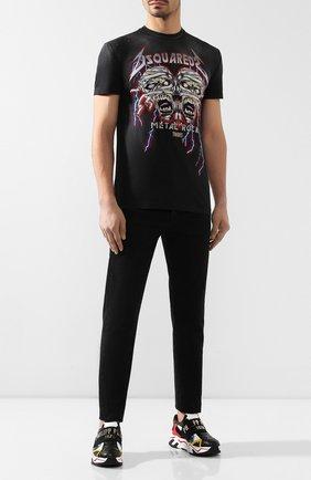 Мужская хлопковая футболка DSQUARED2 темно-серого цвета, арт. S71GD0831/S21600 | Фото 2