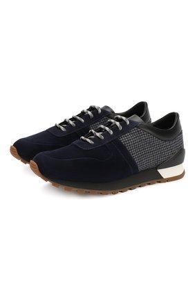 Мужские замшевые кроссовки KITON темно-синего цвета, арт. USSMA02N00629 | Фото 1 (Материал внутренний: Натуральная кожа; Подошва: Плоская; Стили: Классический)
