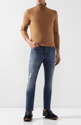 Мужские замшевые кроссовки KITON темно-синего цвета, арт. USSMA02N00629 | Фото 2 (Материал внутренний: Натуральная кожа; Подошва: Плоская; Стили: Классический)