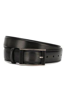 Мужской кожаный ремень BERLUTI черного цвета, арт. C0058-003 | Фото 1