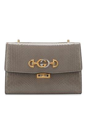 Женская сумка gucci zumi small из кожи питона GUCCI серого цвета, арт. 576388/LJM0X/PBIV | Фото 1