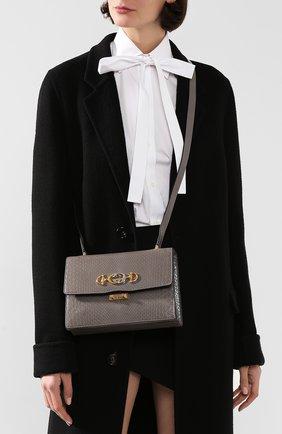 Женская сумка gucci zumi small из кожи питона GUCCI серого цвета, арт. 576388/LJM0X/PBIV | Фото 2