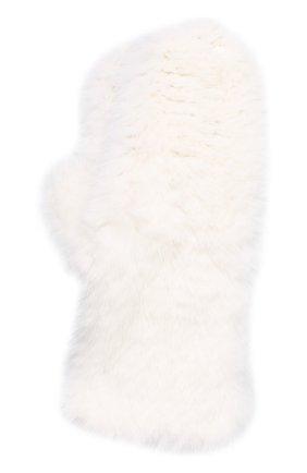Женские варежки из меха норки KUSSENKOVV белого цвета, арт. 601730001105 | Фото 1