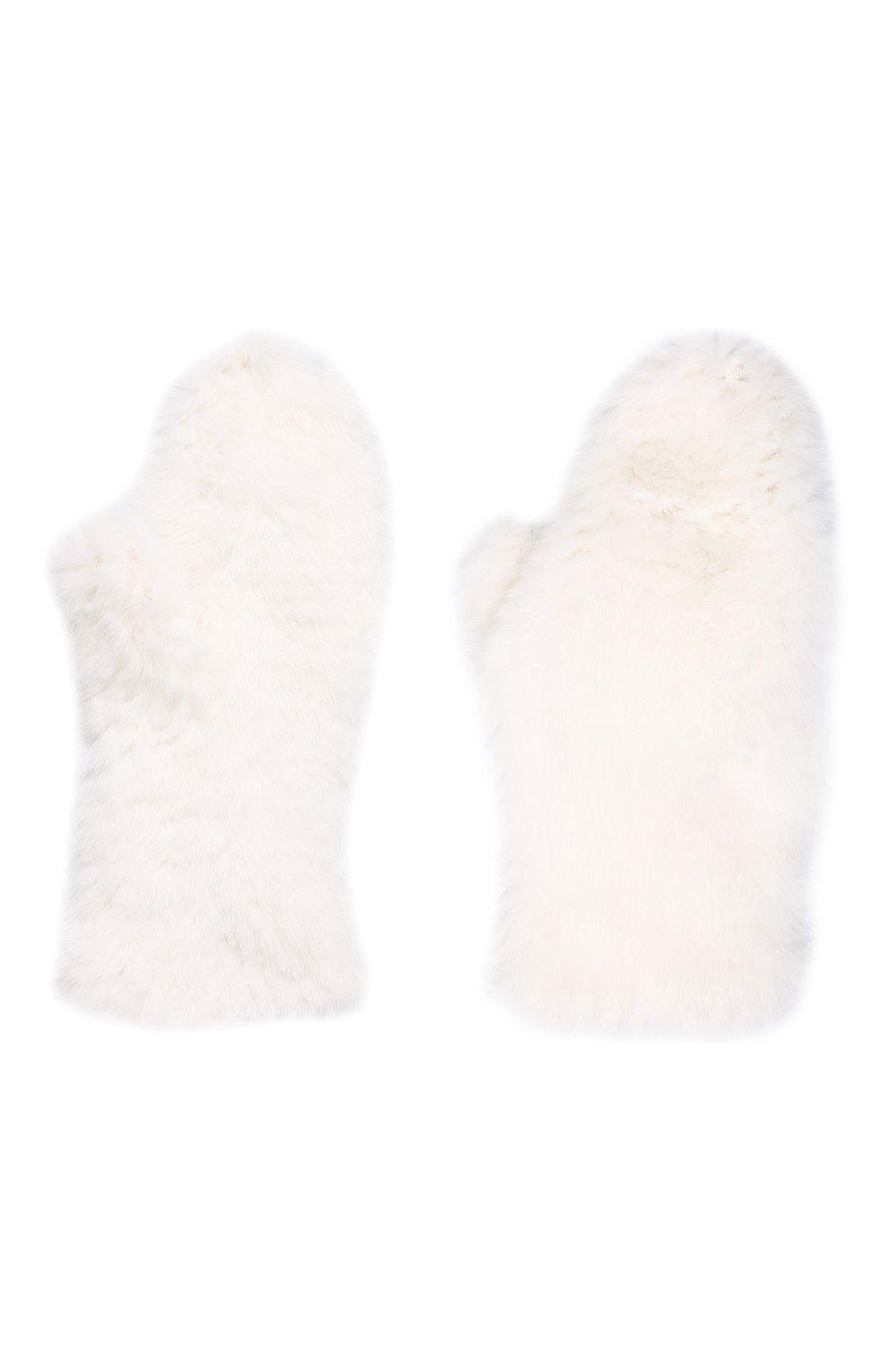 Женские варежки из меха норки KUSSENKOVV белого цвета, арт. 601730001105 | Фото 2