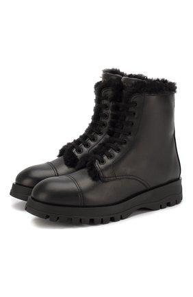 Женские кожаные ботинки PRADA черного цвета, арт. 1T595L-3KK9-F0002 | Фото 1
