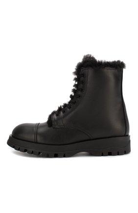 Женские кожаные ботинки PRADA черного цвета, арт. 1T595L-3KK9-F0002 | Фото 2