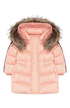 Детского пуховик с меховой отделкой на капюшоне FENDI розового цвета, арт. BFA054/A4RT/12M-24M | Фото 1