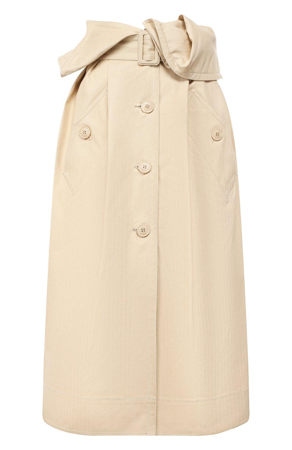 Женская хлопковая юбка JACQUEMUS бежевого цвета, арт. 193SK02/30130 | Фото 1