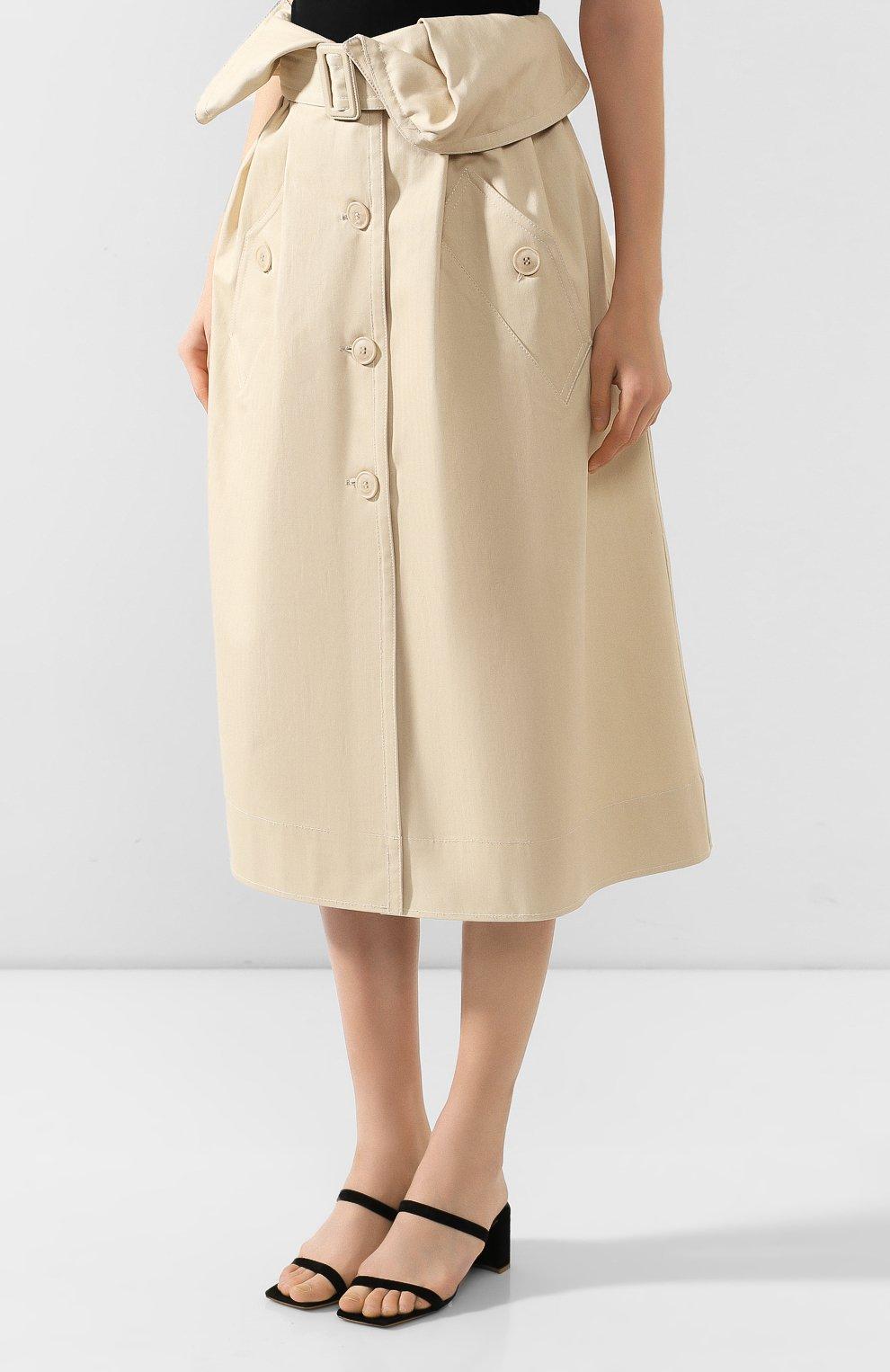 Женская хлопковая юбка JACQUEMUS бежевого цвета, арт. 193SK02/30130 | Фото 3