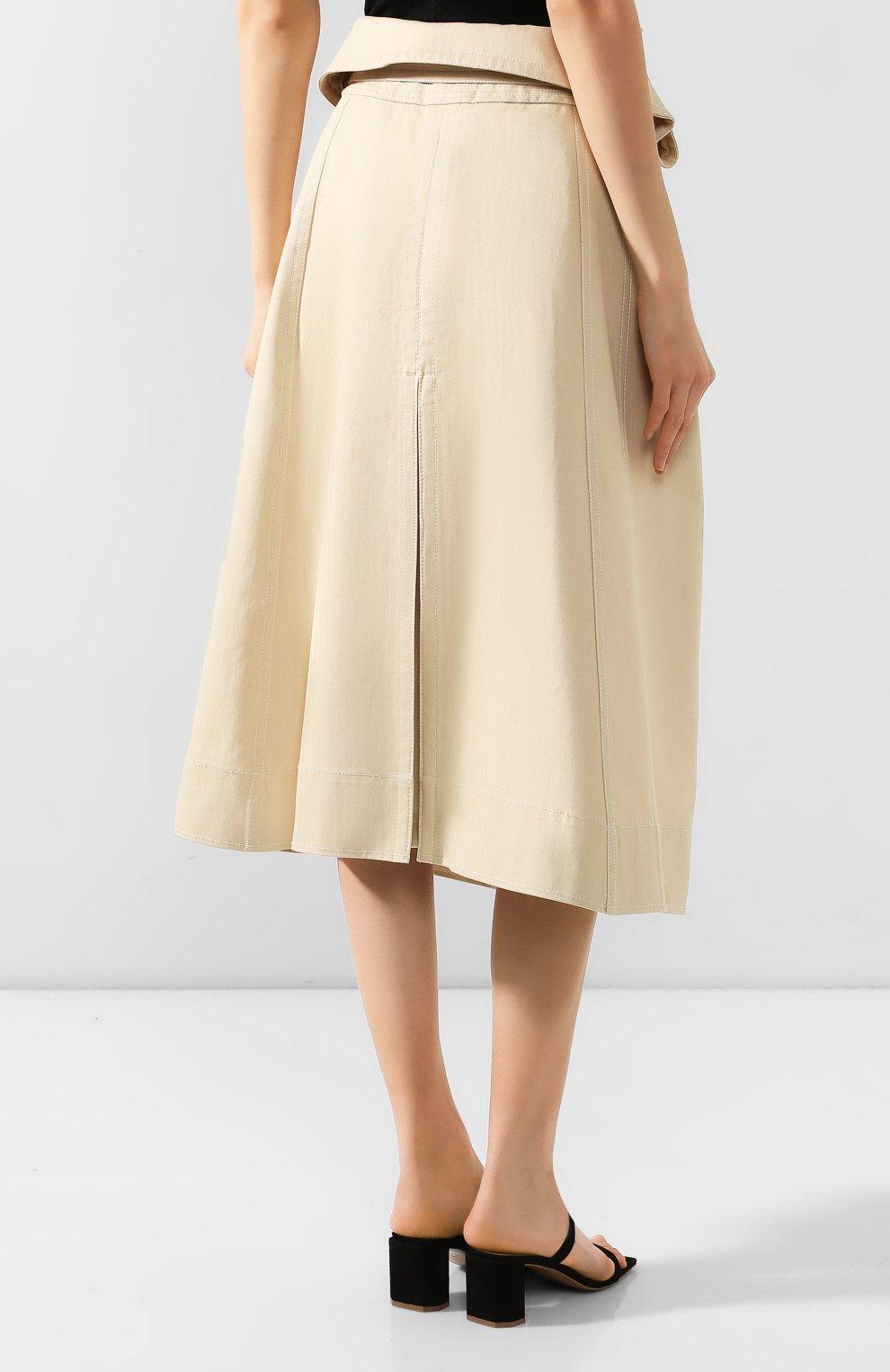 Женская хлопковая юбка JACQUEMUS бежевого цвета, арт. 193SK02/30130 | Фото 4