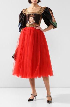 Женская юбка DOLCE & GABBANA красного цвета, арт. F4BRTT/HLM0U | Фото 2