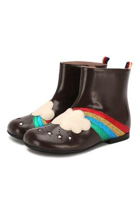 Детские кожаные ботинки GUCCI коричневого цвета, арт. 579678/D73K0 | Фото 1