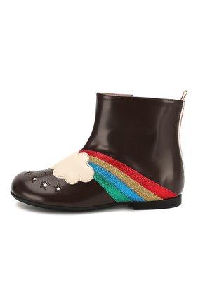 Детские кожаные ботинки GUCCI коричневого цвета, арт. 579678/D73K0 | Фото 2