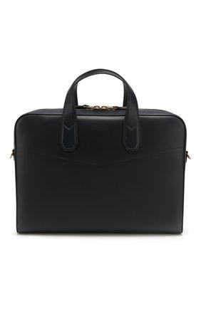 Мужская кожаная сумка для ноутбука DUNHILL темно-синего цвета, арт. DU19F3800DK | Фото 1