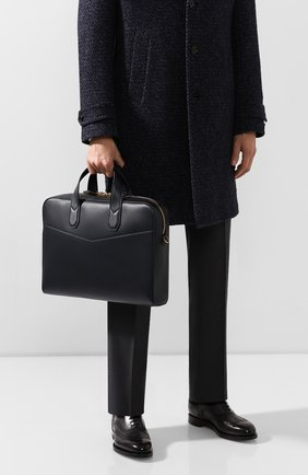 Мужская кожаная сумка для ноутбука DUNHILL темно-синего цвета, арт. DU19F3800DK | Фото 2