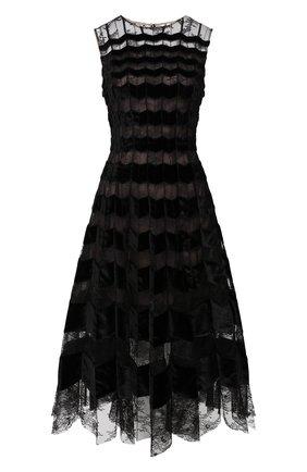 Женское шелковое платье OSCAR DE LA RENTA черного цвета, арт. 19FN634CFA | Фото 1