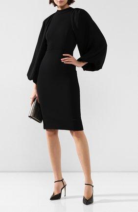 Женское платье из вискозы ADAM LIPPES черного цвета, арт. F19710SP | Фото 2 (Длина Ж (юбки, платья, шорты): До колена; Материал подклада: Шелк; Рукава: Длинные; Случай: Повседневный)
