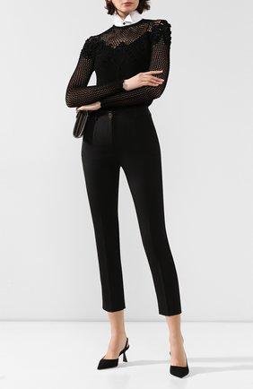 Женские брюки из смеси шерсти и шелка DOLCE & GABBANA черного цвета, арт. FTAMUT/FUBD6 | Фото 2