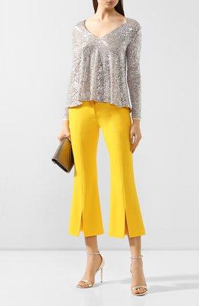 Женские шерстяные брюки ADAM LIPPES желтого цвета, арт. F19506TW | Фото 2 (Материал внешний: Шерсть; Материал подклада: Шелк; Женское Кросс-КТ: Брюки-одежда; Длина (брюки, джинсы): Укороченные; Статус проверки: Проверена категория)