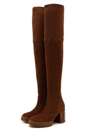 Женские замшевые ботфорты CASADEI коричневого цвета, арт. 1T940N0701T00052608 | Фото 1