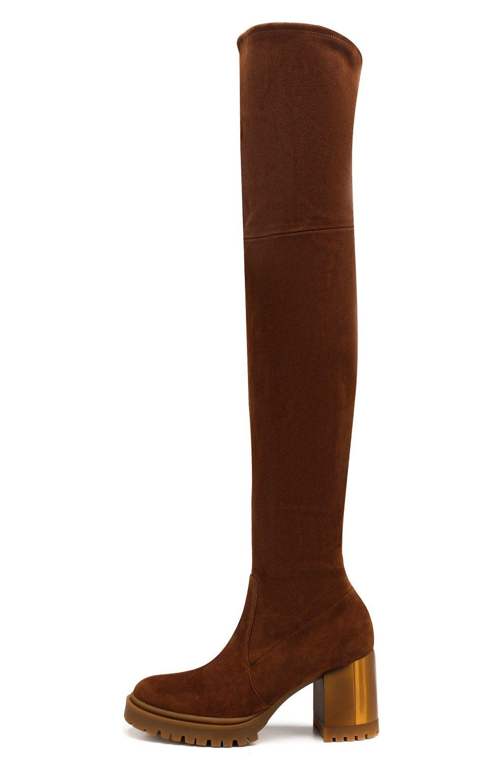 Женские замшевые ботфорты CASADEI коричневого цвета, арт. 1T940N0701T00052608 | Фото 3
