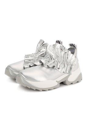 Женские комбинированные кроссовки SERGIO ROSSI серебряного цвета, арт. A87300-MFN801 | Фото 1