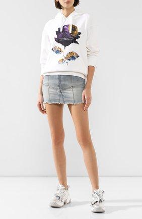 Женские комбинированные кроссовки SERGIO ROSSI серебряного цвета, арт. A87300-MFN801 | Фото 2