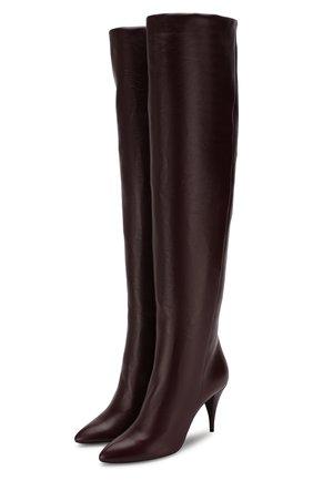 Женские кожаные ботфорты kiki SAINT LAURENT фиолетового цвета, арт. 592347/1K400 | Фото 1