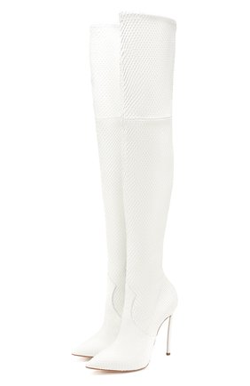 Женские ботфорты из кожи питона CASADEI белого цвета, арт. 1T937N120HC02709999/PBIV | Фото 1