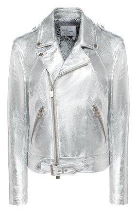 Женская кожаная куртка COCOCLOUDE. серебряного цвета, арт. CCFWM114 | Фото 1
