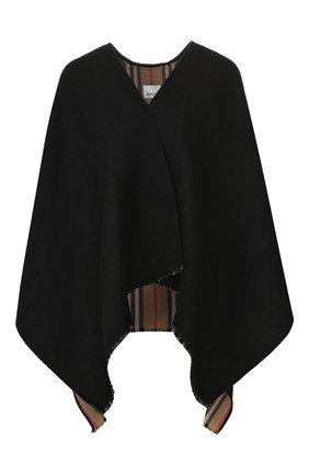 Женская шерстяная накидка BURBERRY черного цвета, арт. 8018496 | Фото 1