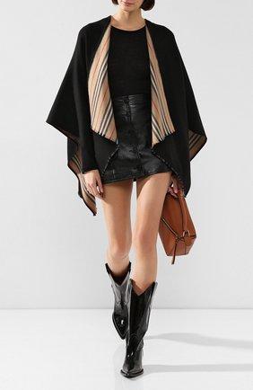 Женская шерстяная накидка BURBERRY черного цвета, арт. 8018496 | Фото 2
