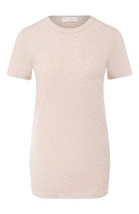 Женская хлопковая футболка BRUNELLO CUCINELLI светло-серого цвета, арт. M0T18B0170   Фото 1