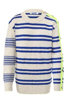 Женская пуловер из шерсти и кашемира STEVE J & YONI P синего цвета, арт. PW1J9K-P0029W   Фото 1