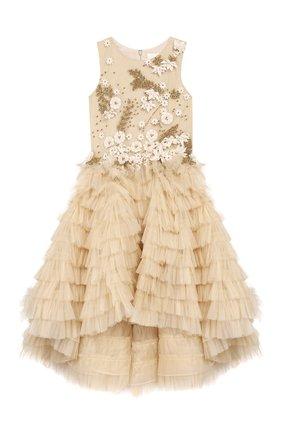 Детское платье MISCHKA AOKI золотого цвета, арт. FW19270/6-8   Фото 1