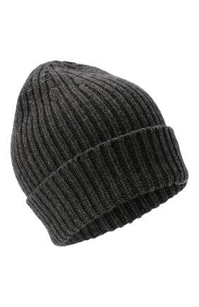 Мужская шапка из смеси шерсти и кашемира TEGIN темно-серого цвета, арт. CW5246   Фото 1