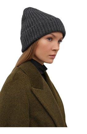 Мужская шапка из смеси шерсти и кашемира TEGIN темно-серого цвета, арт. CW5246   Фото 2
