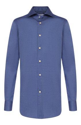 Мужская хлопковая сорочка KITON синего цвета, арт. UCCH0701004 | Фото 1