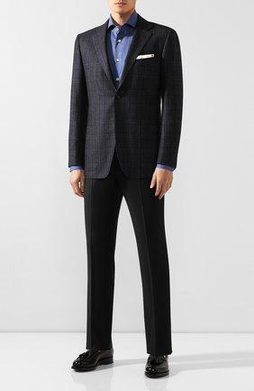 Мужская хлопковая сорочка KITON синего цвета, арт. UCCH0701004 | Фото 2