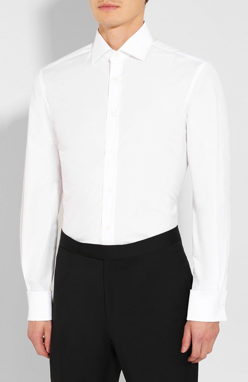 Мужская хлопковая сорочка RALPH LAUREN белого цвета, арт. 791770417   Фото 3