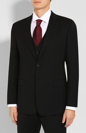 Мужской шерстяной костюм-тройка GIORGIO ARMANI черного цвета, арт. 8WGAY004/T0075 | Фото 2