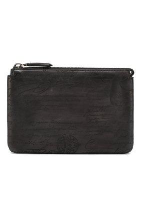 Мужская кожаный клатч BERLUTI серого цвета, арт. N140152   Фото 1