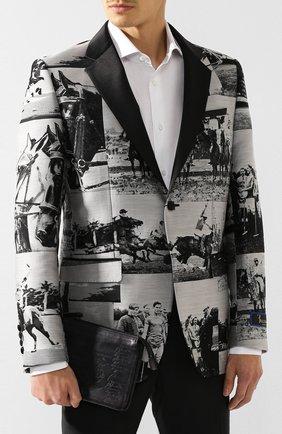 Мужская кожаный клатч BERLUTI серого цвета, арт. N140152   Фото 2